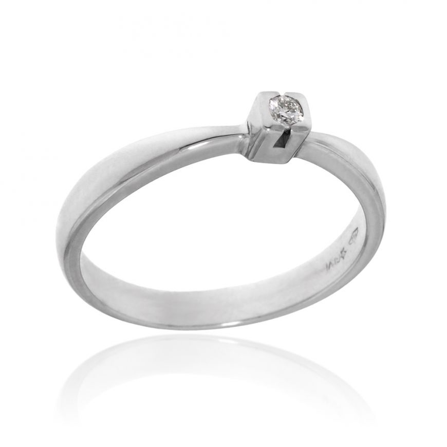 Solitaire ring with 0.05ct brilliant-cut diamond | Gioiello Italiano