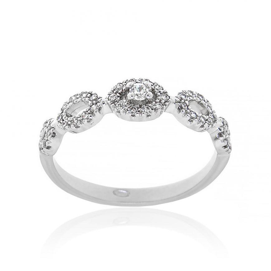 Silver ring with white zircons | Gioiello Italiano