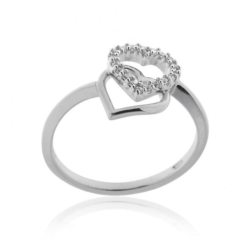 Double heart silver ring   Gioiello Italiano