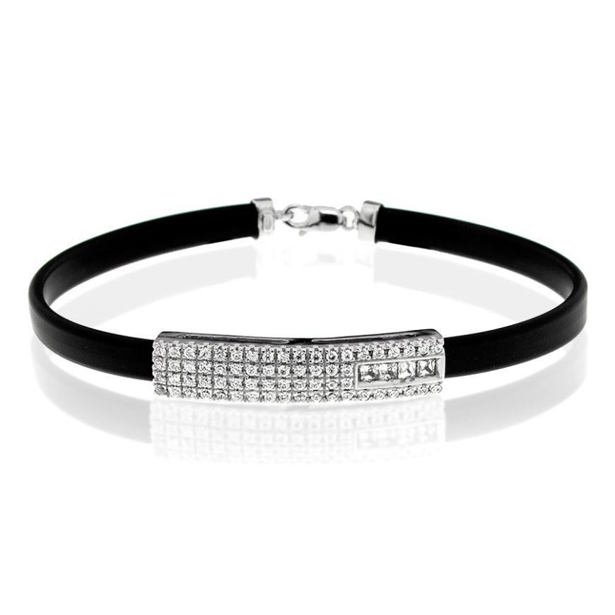 Silver bracelet with natural rubber and zircons | Gioiello Italiano