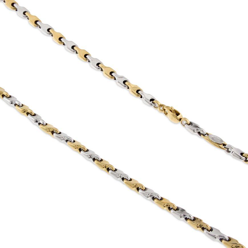 Catena in oro giallo e bianco 14kt | Gioiello Italiano