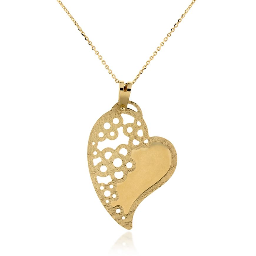 Yellow gold necklace with heart and flowers pendant | Gioiello Italiano