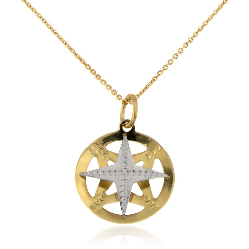 "White and yellow gold ""Wind Rose"" necklace 