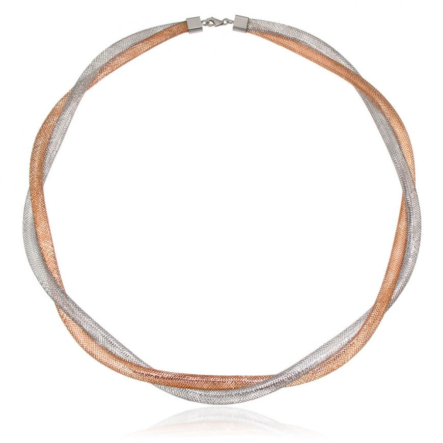 Elastic pink and white gold necklace | Gioiello Italiano
