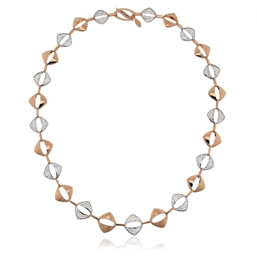 14kt white and pink gold necklace | Gioiello Italiano