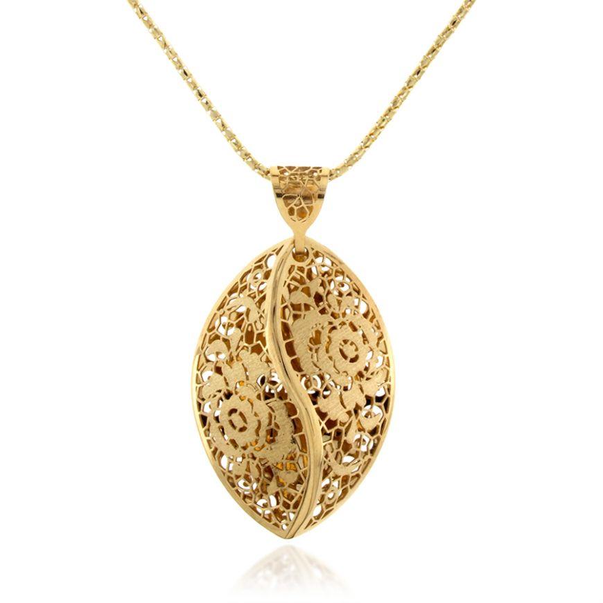 14kt yellow gold lace necklace   Gioiello Italiano