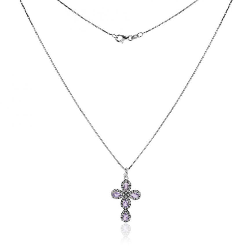 Silver oval cross necklace with natural colored stones | Gioiello Italiano