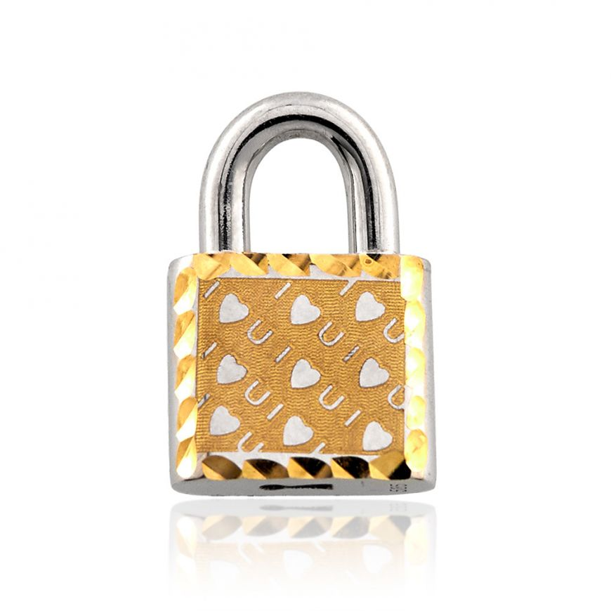 Lock shaped pendant 14kt white and yellow gold | Gioiello Italiano