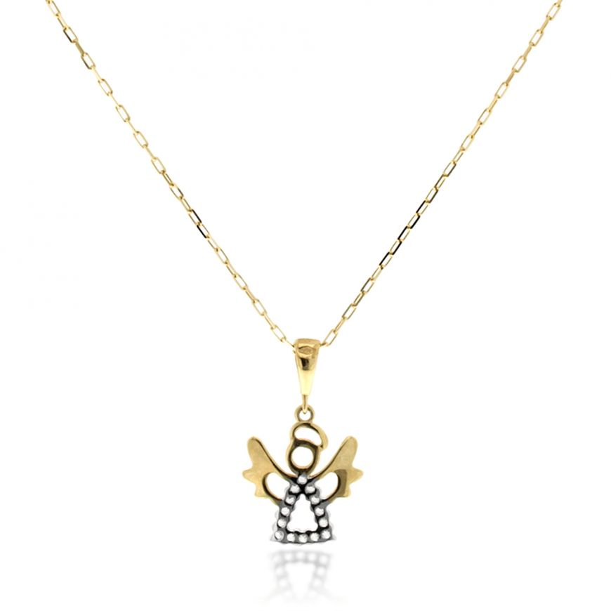 Yellow and white gold necklace with angel pendant | Gioiello Italiano