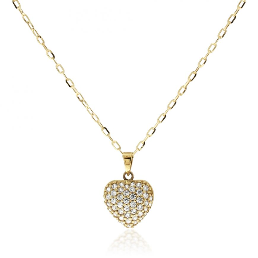 Yellow gold necklace with cubic zirconia pave | Gioiello Italiano