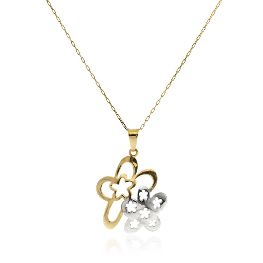 14kt yellow and white gold necklace with floral pendant | Gioiello Italiano