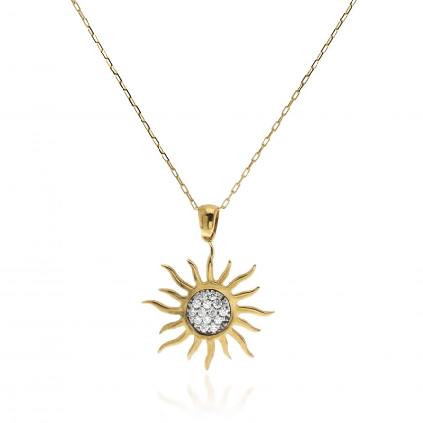 14kt yellow gold necklace with sun-shaped pendant | Gioiello Italiano