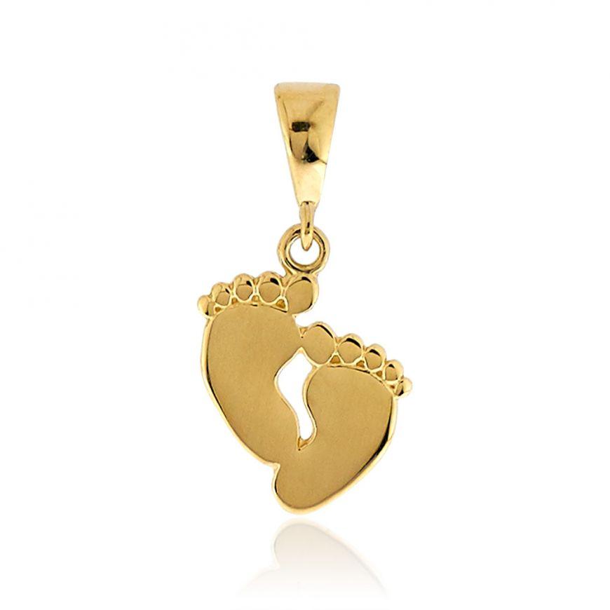 14kt yellow gold pendant feet shaped | Gioiello Italiano