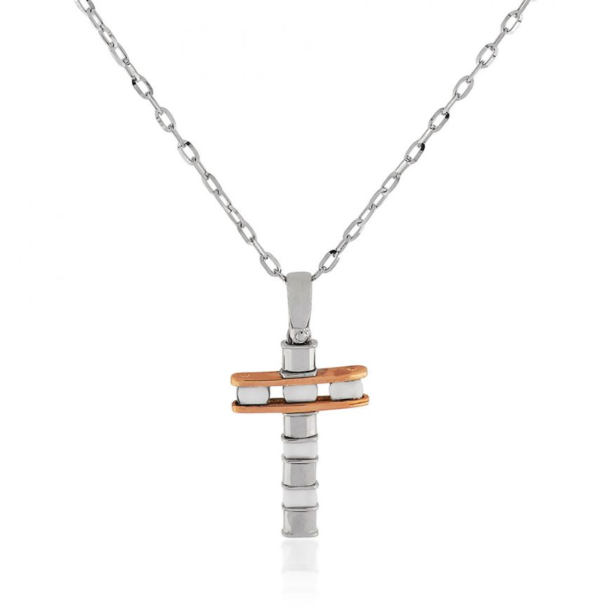 White and rose gold cross necklace with white ceramic | Gioiello Italiano