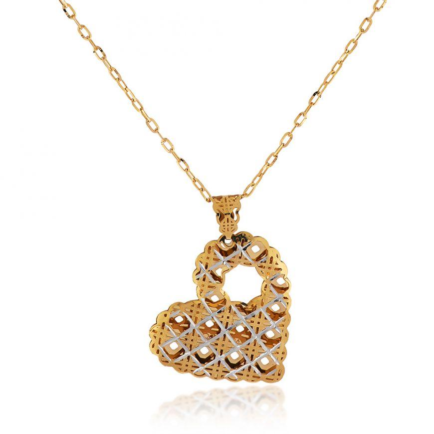 14kt yellow gold necklace with heart-shaped pendant | Gioiello Italiano