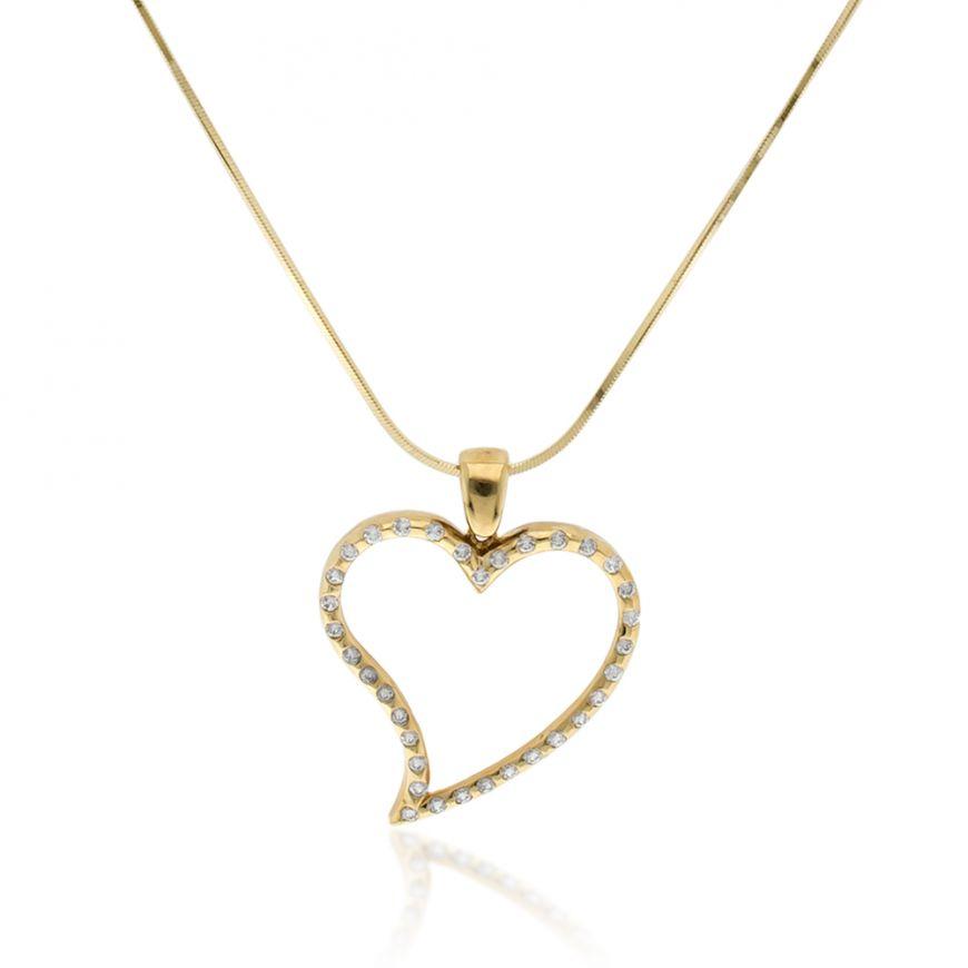 Yellow gold necklace with heart-shaped pendant | Gioiello Italiano