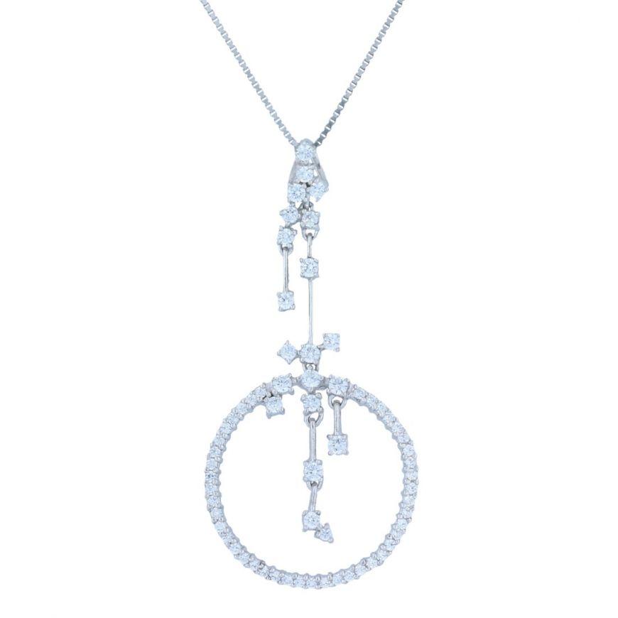 Silver necklace with white cubic zirconia | Gioiello Italiano
