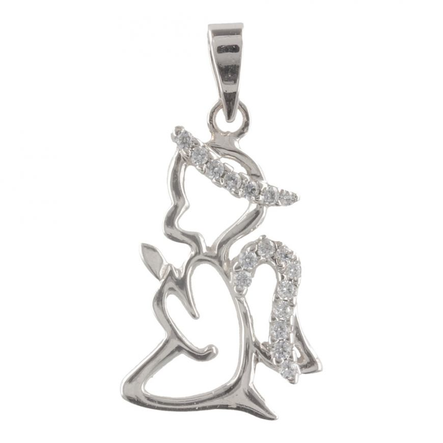 "White gold ""Angel"" pendant with cubic zirconia 