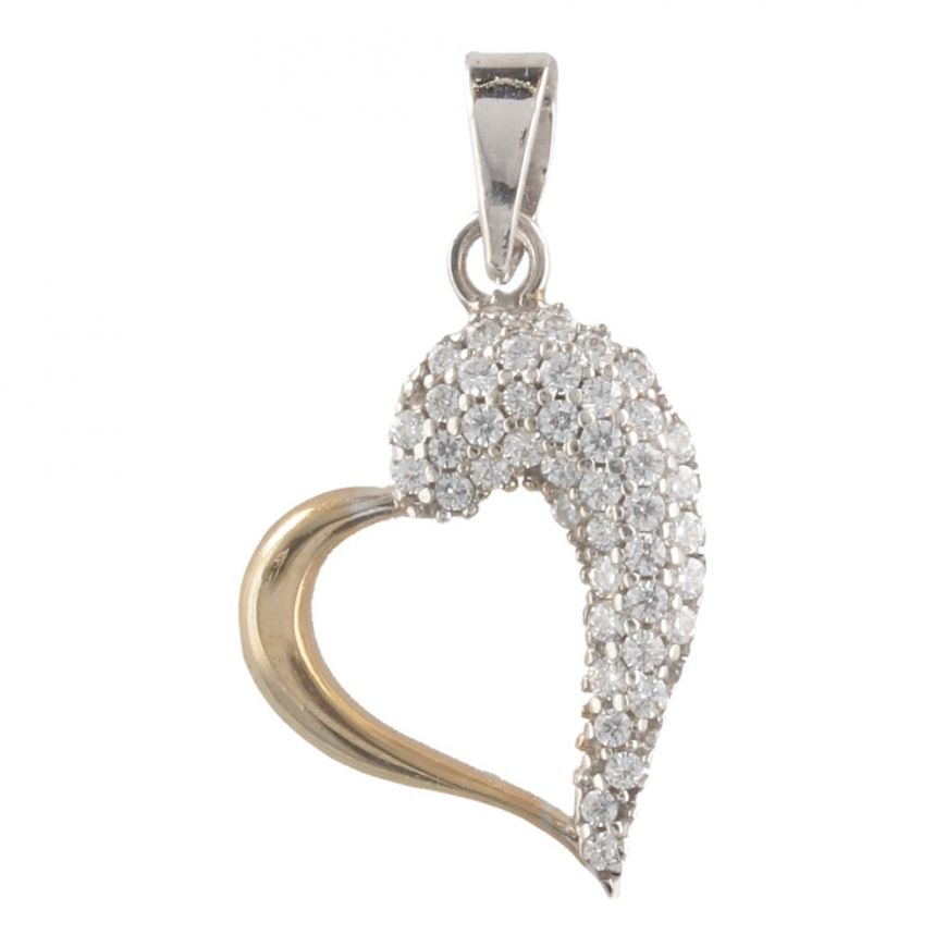Gold little heart pendant with white cubic zirconia | Gioiello Italiano