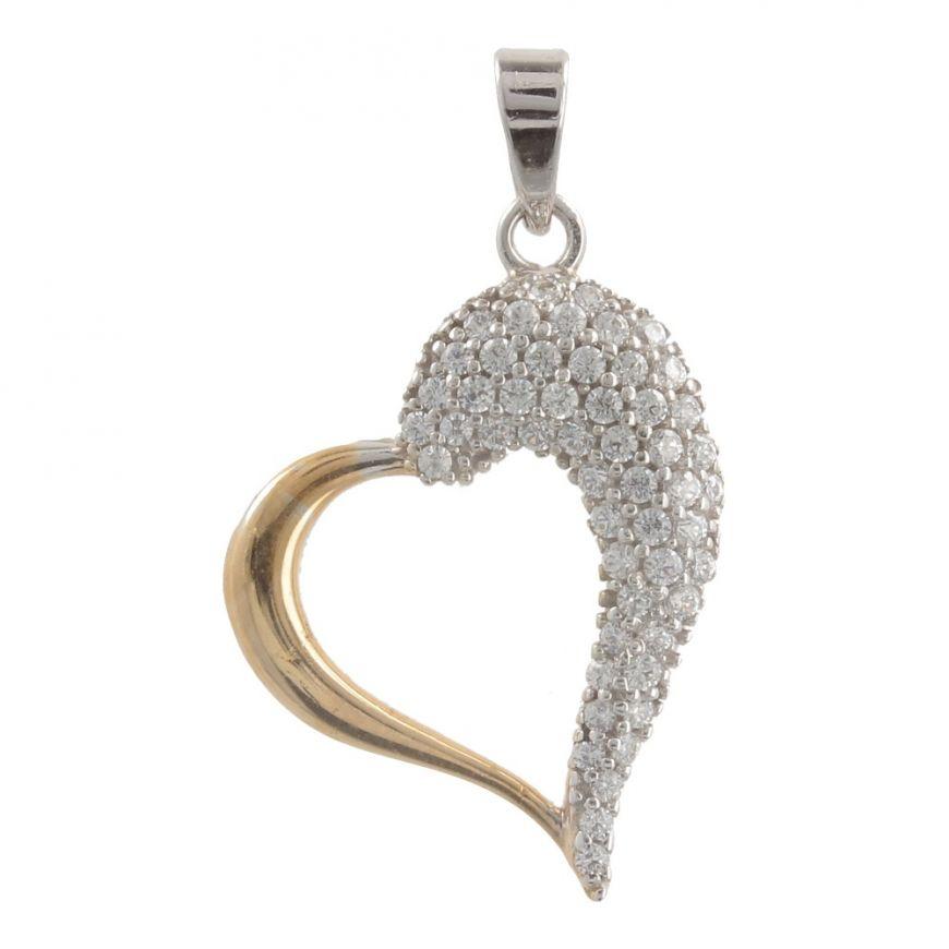 18kt gold big heart pendant with cubic zirconia | Gioiello Italiano