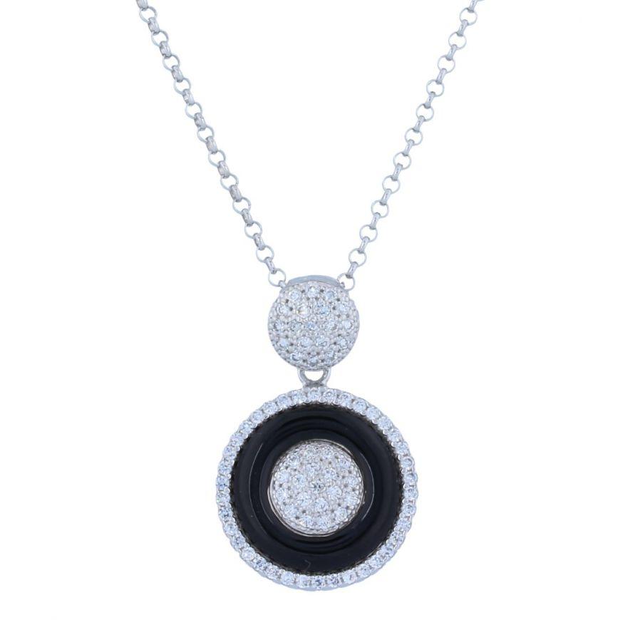 Silver necklace with cubic zirconia and onyx | Gioiello Italiano