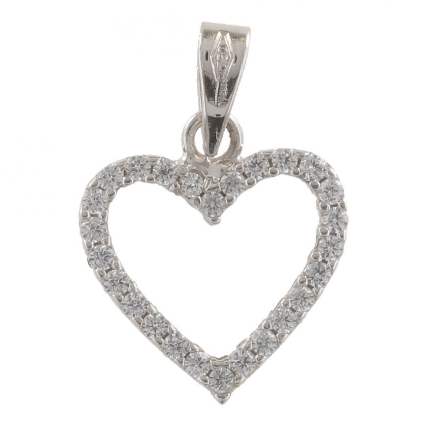 "White gold heart ""Double Face"" big pendant 