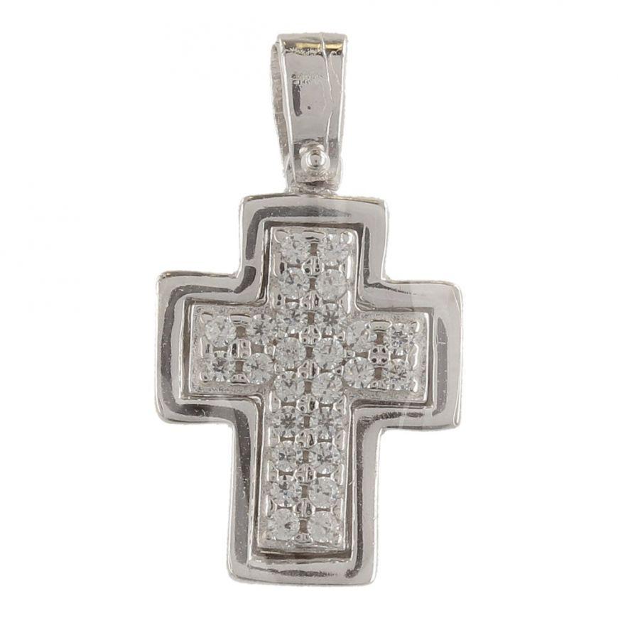 Pendente a croce in oro bianco con zirconi cubici bianchi | Gioiello Italiano
