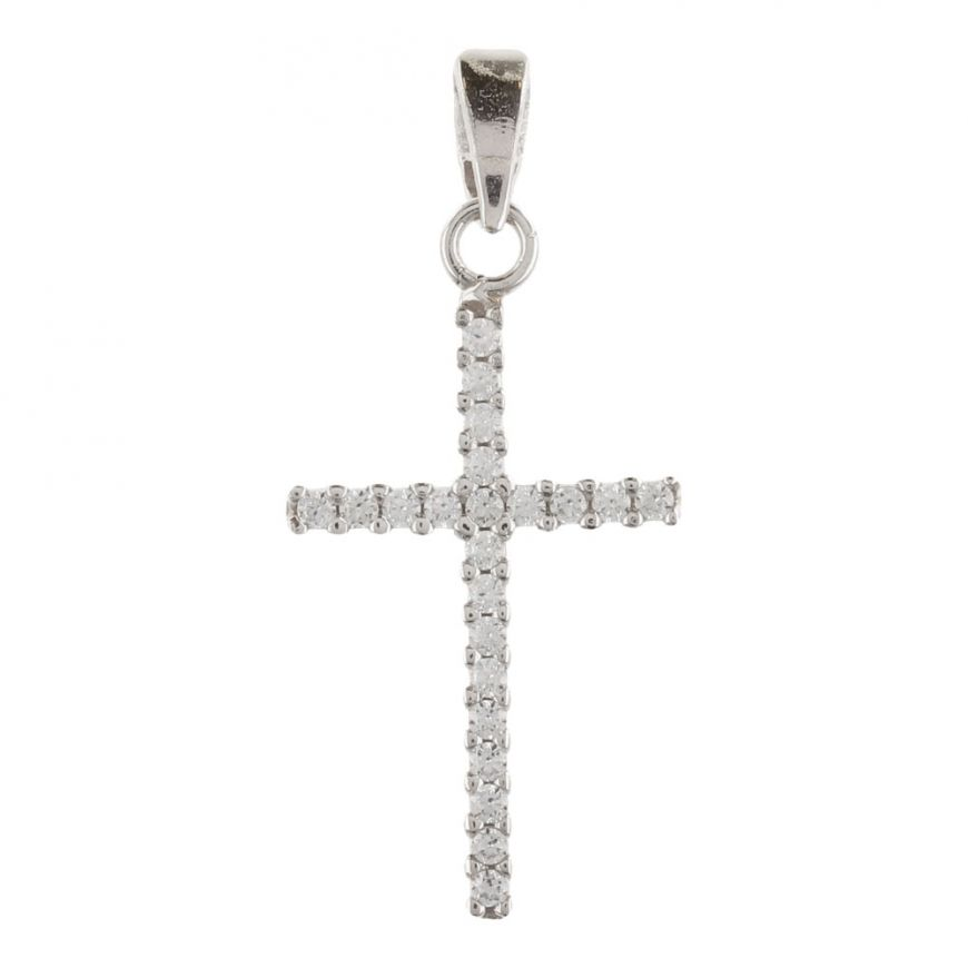 White gold cross pendant with cubic zirconia pave | Gioiello Italiano
