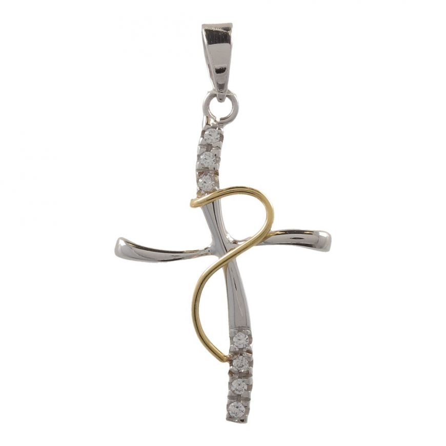 White and yellow gold cross | Gioiello Italiano