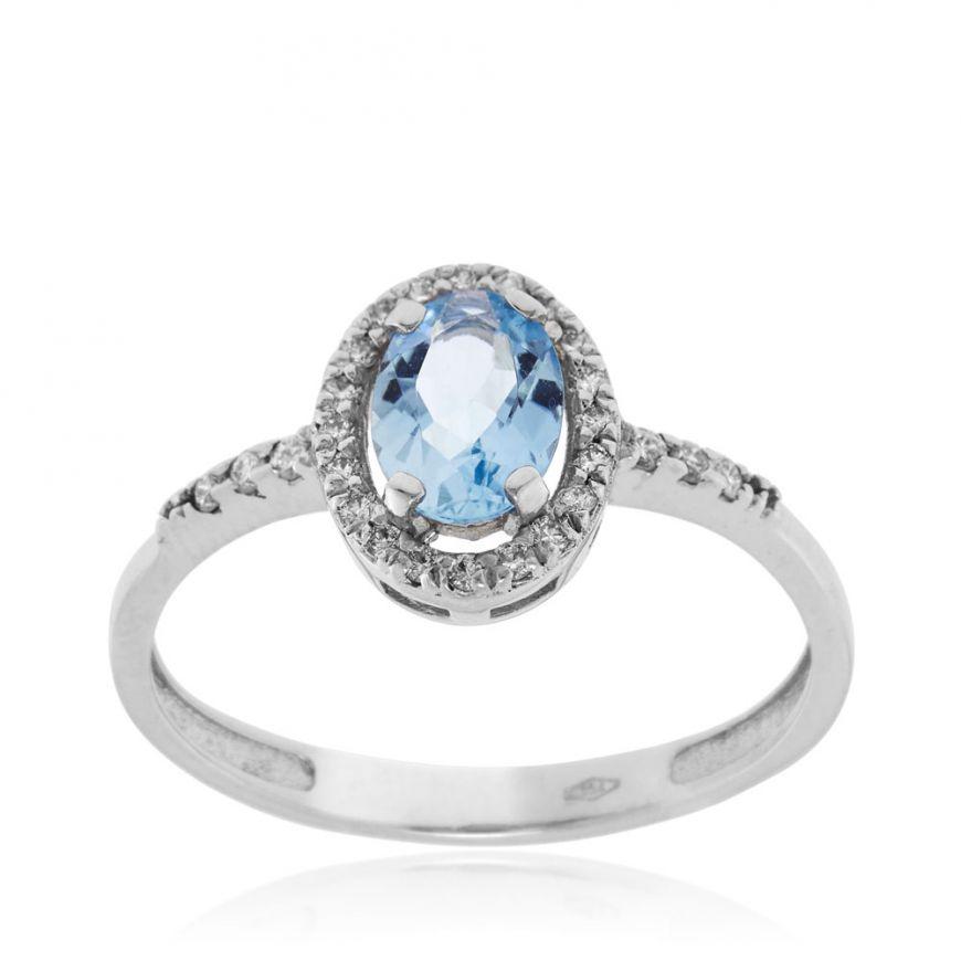 Anello in oro bianco con diamanti e acquamarina ovale | Gioiello Italiano