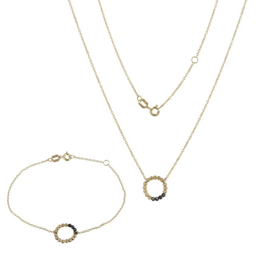 Parure in oro giallo con perline e zirconi neri | Gioiello Italiano