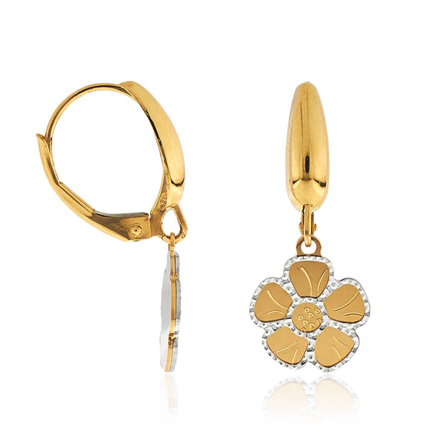 "14kt yellow and white gold ""Flowers"" earrings 