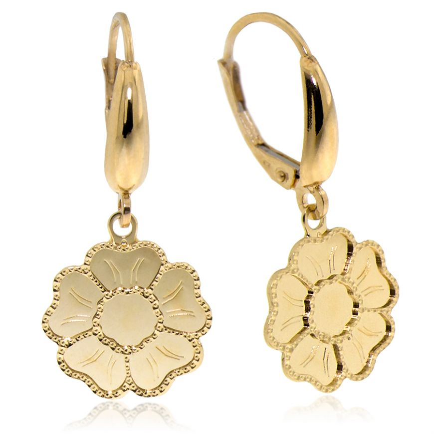 14kt yellow gold flower-shaped earrings | Gioiello Italiano