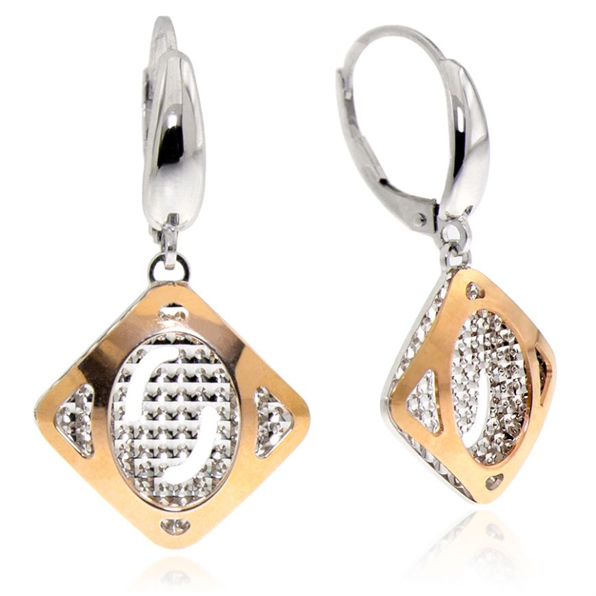 14kt white and pink gold earrings | Gioiello Italiano