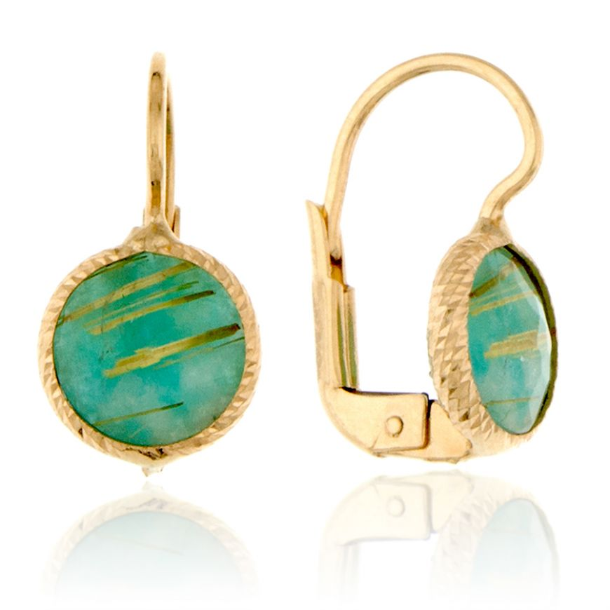 Yellow gold earrings with green rutilated quartz | Gioiello Italiano