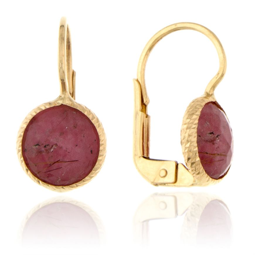 Yellow gold earrings with burgundy rutilated quartz | Gioiello Italiano