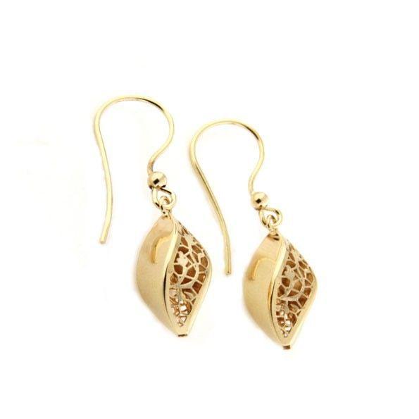 Yellow gold lace pendant earrings | Gioiello Italiano