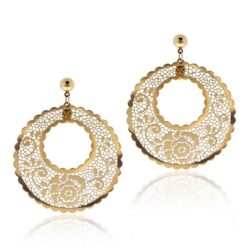 14kt yellow gold lace earrings | Gioiello Italiano