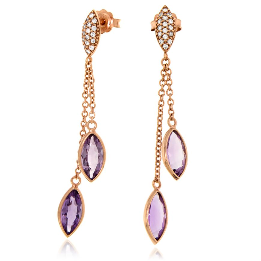 Pink gold pendant earrings with amethysts | Gioiello Italiano