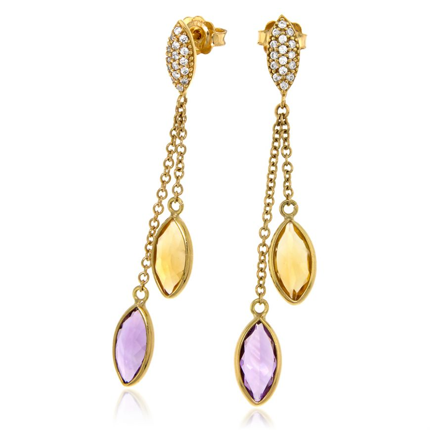 Yellow gold earring with amethyst and citrine quartz | Gioiello Italiano