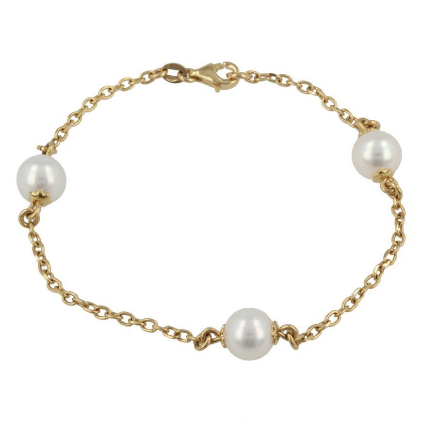 Bracciale in oro giallo 18kt con tre perle naturali   Gioiello Italiano