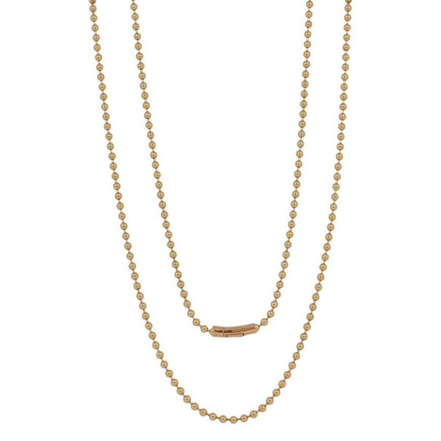 Collana lunga con perline in oro giallo 18kt   Gioiello Italiano