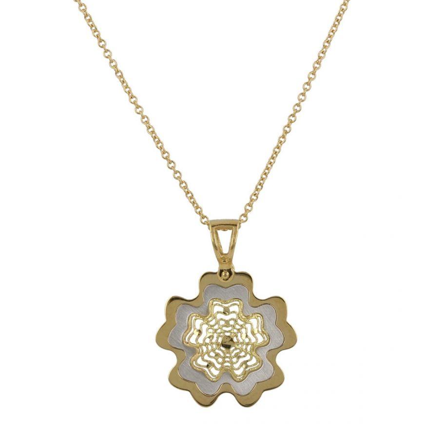 Collana con pendente a fiore in oro giallo e bianco 18kt   Gioiello Italiano
