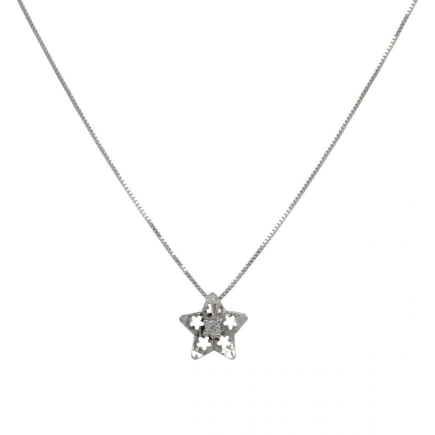 Collana a stella in oro bianco 18kt | Gioiello Italiano