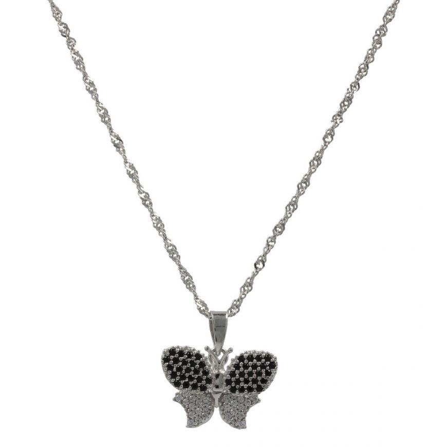 Collana con farfalla in oro bianco 18kt e zirconi | Gioiello Italiano