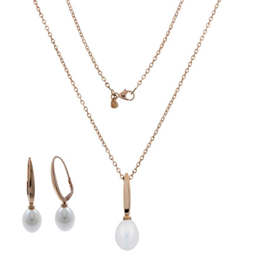 Parure in oro rosa 14kt con perle ovali | Gioiello Italiano