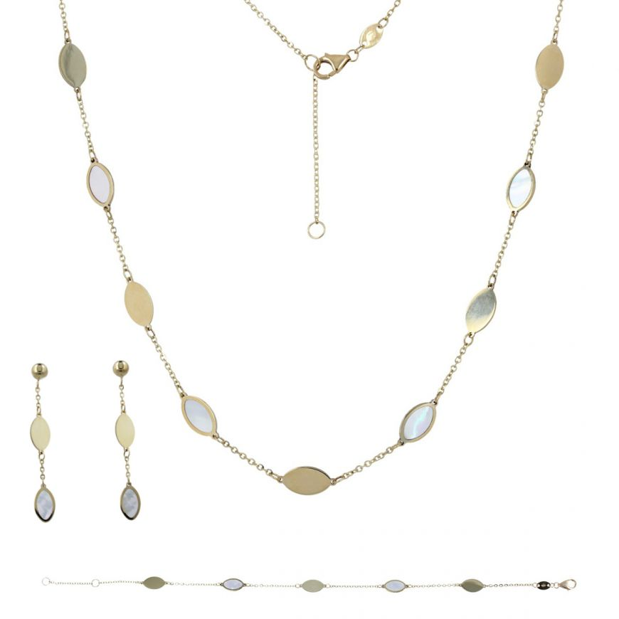 14kt yellow gold set with mother-of-pearl | Gioiello Italiano