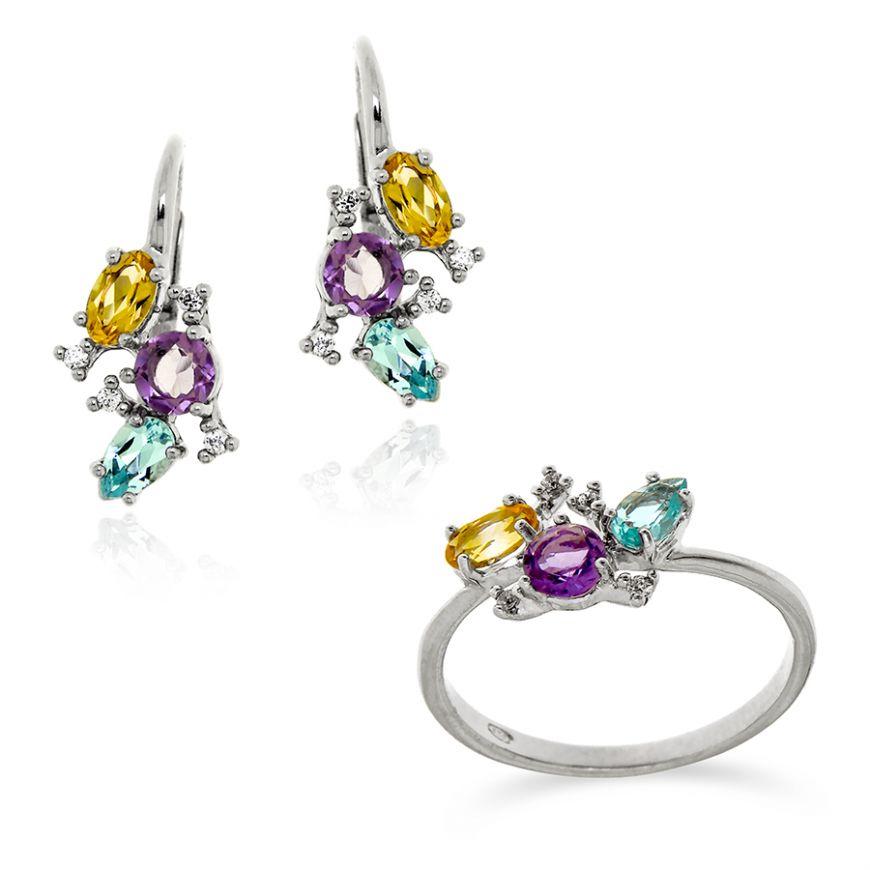 Silver set with multicolor natural stones | Gioiello Italiano