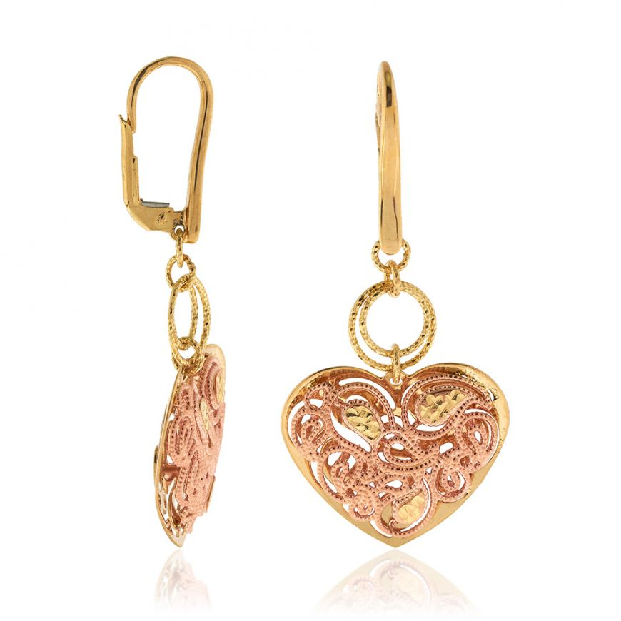 14kt yellow and rose gold heart earrings | Gioiello Italiano