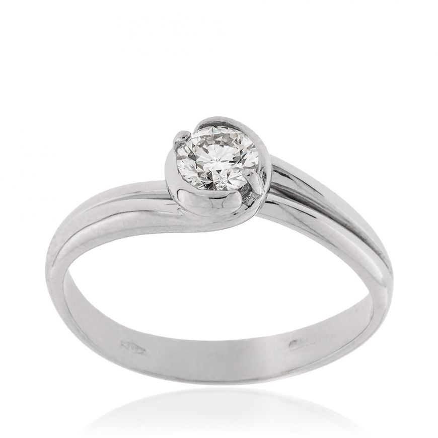 White gold solitaire ring with 0.33ct diamond | Gioiello Italiano